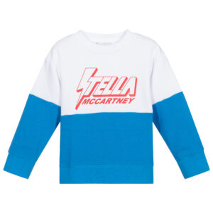 Stella McCartney Kids White & Blue Cotton Sweatshirt